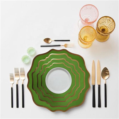 Green Rimmed Ceramic Porcelain Charger Plates Set Of 4pcs For Wedding