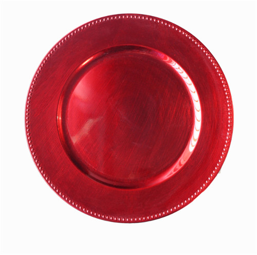Red Beaded Charger Plates Plastic Wholesale Wedding Decorative