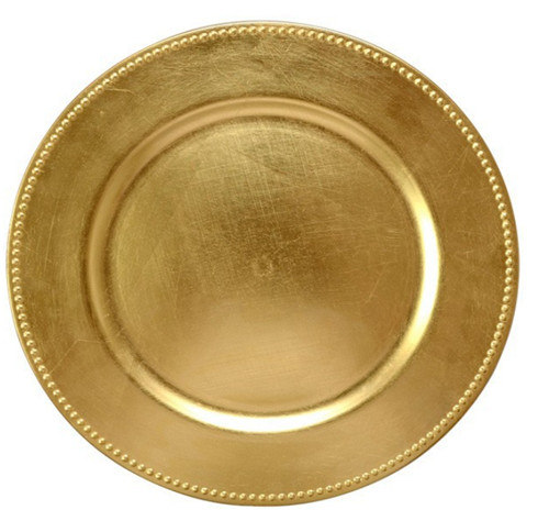 Gold Beaded Charger Plates Plastic Wholesale Wedding Decorative