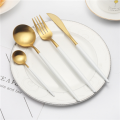 High Quality White Gold Flatware Cutlery Set For Wedding Event Rental
