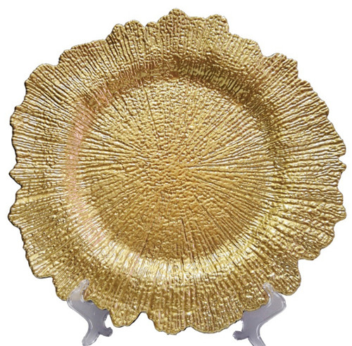 Cheap Wholesale Gold Reef Plastic Plate Charger For Wedding Dinner
