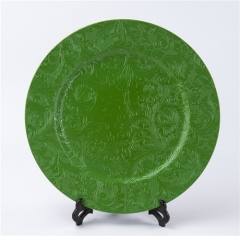 Hotel Restaurant Wedding Gold Silver Green Colored Plastic Charger Plate