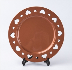 Wedding Decoration Plastic Charger Plate Brown Colored