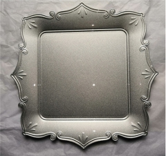 Square Silver Gold Pink Plastic Charger Plate For Wedding Dinner