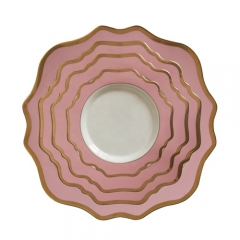 Pink Rimmed Ceramic Porcelain Charger Plates Set of 4pcs For Wedding