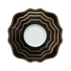 Black Gold Rimmed Ceramic Porcelain Charger Plates Set Of 4pcs For Wedding