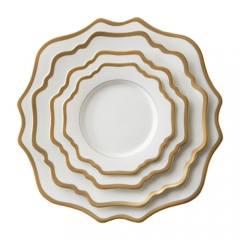 Gold Rimmed Ceramic Porcelain Charger Plates Set of 4pcs For Wedding