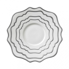 Silver Rimmed Ceramic Porcelain Charger Plates Set of 4pcs For Wedding