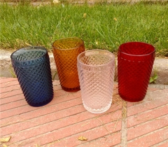 Drinking Glassware Hand Pressed Color Glass Tumbler