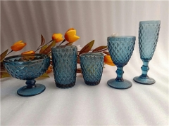 Wholesale Blue Colored Wine Glass Set With Pitcher Juice Jug