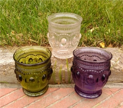 Popular Colored Glass Dof Water Cup Embossed Wine Glass