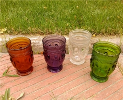 Most Popular Multiple Color Glass Water Cup Embossed Wine Glass