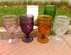 Christmas Wholesale Hand Pressed Colored Wine Thick Glass Goblets