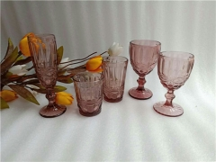 Hand Pressed Purple Wine Glass Tumbler Cup With Unique Design