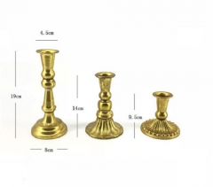 Classic Antique Brass Metal Candle Holders For Wedding Decoration