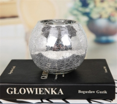 Silver Ball Glass Cylinder Vase Home Decor Candle Holder