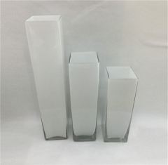 White Black Colored Long Square Vase For Wedding Decoration