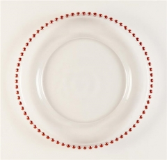 Wholesale Clear Glass Beaded Charger Plate With Rose Gold Silver Rimmed
