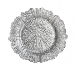 Elegant Gold Silver Reef Glass Wedding Charger Plates