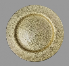 New Home Decoration Wedding Gold Glass Charger Plate