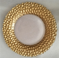 Wedding Clear Gold Glass Charger Plates With Silver Hammered Dot Rim