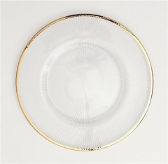 Factory Direct Wholesale Gold Silver Rimmed Glass Charger Under Plate
