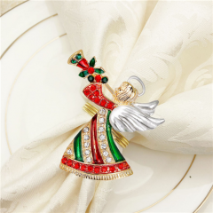 Rhinestone Enamel Christmas Little Angel Playing Napkin Rings