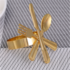 Factory Direct Supply Colored Metal Cutlery Shape Napkin Rings