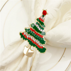 Wholesale Enamel Christmas Tree Shaped Napkin Ring Holder